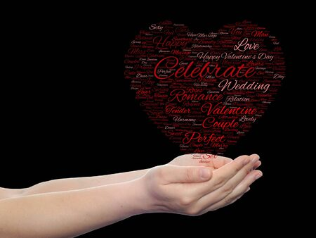 feel affection: Conceptual love or Valentine heart shape word cloud isoalted on black held in human hands Stock Photo