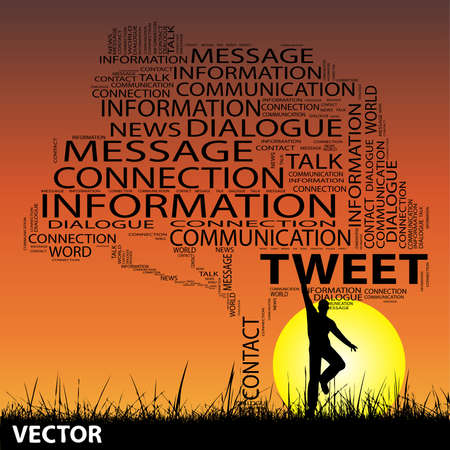 announcing: Vector conceptual contact technology tree man at sunset  word cloud with sun and grass Illustration