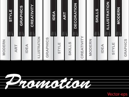 key words art: Vector concept or conceptual white text word cloud tagcloud as piano keys isolated on white background Illustration