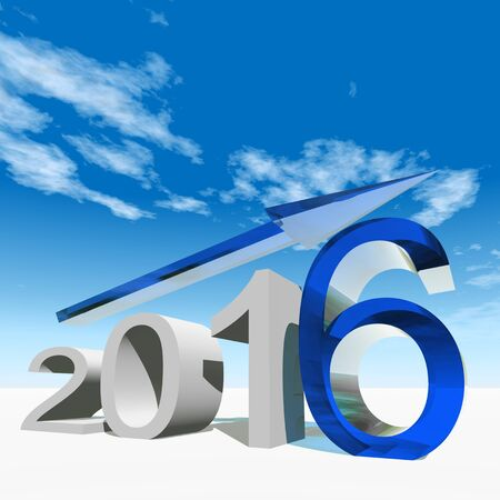 year increase: Conceptual 3D blue 2016 year symbol with an arrow on blue sky background