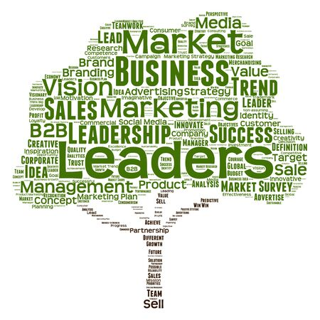 business leadership: Conceptual business leadership or media word cloud isolated on background