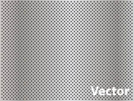 Concetto di vettore di alluminio acciaio grigio metallo perforato concettuale modello di maglia texture di sfondo