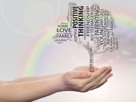 tagcloud: Concept or conceptual black text word cloud or tagcloud tree on man or woman hand on rainbow sky background Stock Photo