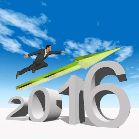 year increase: Conceptual 3D human,man or businessman flying  over an green 2016 year symbol with an arrow on blue sky background Stock Photo