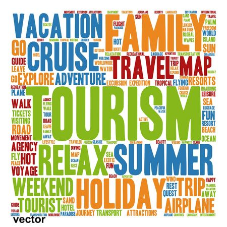 tagcloud: Vector concept or conceptual colorful travel or tourism text word cloud tagcloud isolated on white background