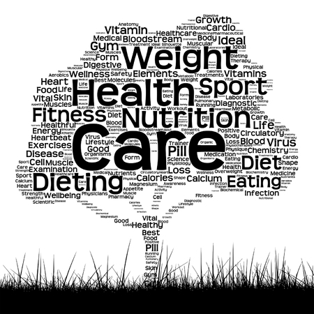 Vector concept or conceptual black health text word cloud as tree and grass isolated on white background metaphor for health, nutrition