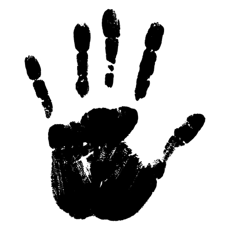 conceptual cute: Concept or conceptual cute black paint human hand or handprint of child isolated on white background