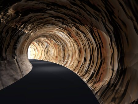 light at the end of the tunnel: Conceptual dark abstract road tunnel with bright light at the end background Stock Photo