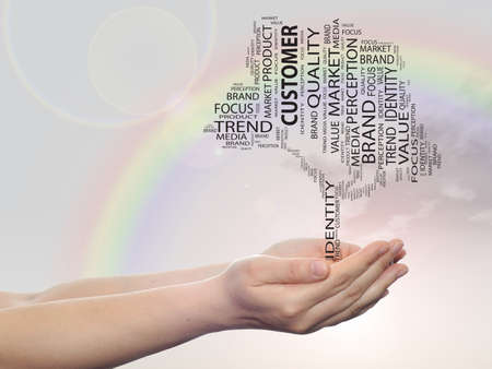 tagcloud: Concept or conceptual tree word cloud tagcloud in man or woman hand on rainbow sky background