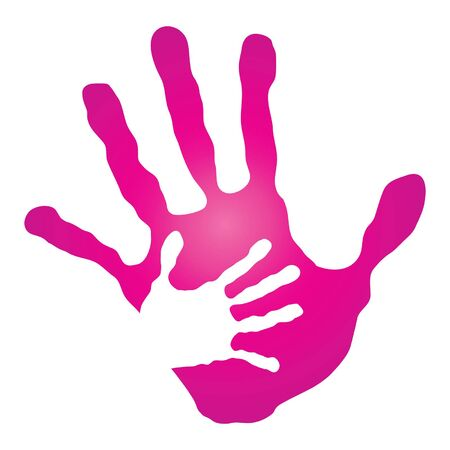Vector conceptual mother and child hand print isolated on white background