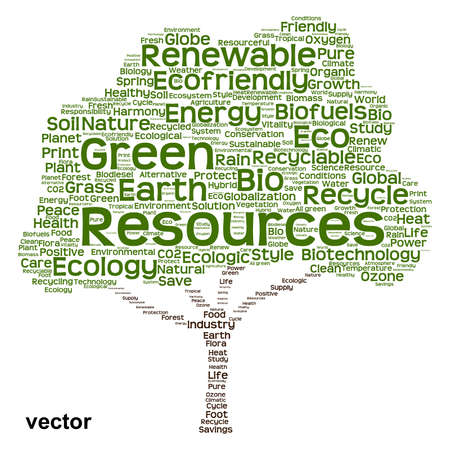 Conceptual green, ecology, recycle or energy tree word cloud background Illustration