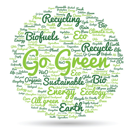 oncept: oncept or conceptual abstract green ecology or energy and conservation word cloud text isolated on white background Stock Photo