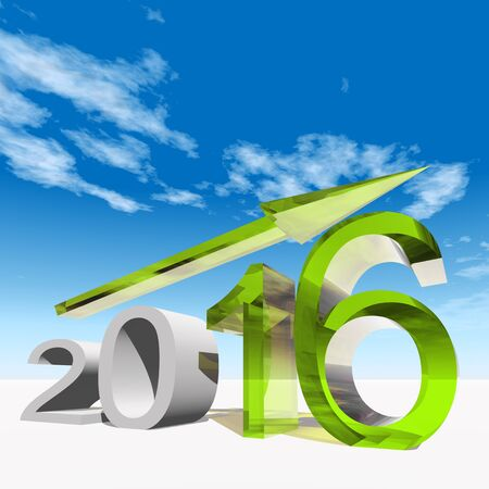 Conceptual 3D green 2016 year symbol with an arrow on blue sky background