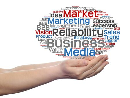Conceptual business word cloud in hands isolated on background