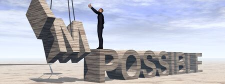difficult mission: Conceptual 3D business man standing over abstract stone impossible text over sky banner