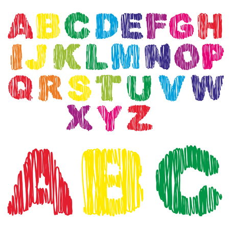 Vector conceptual sketch colorful child font collection isolated on white background