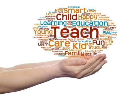 Conceptual education word cloud in hands isolated on background
