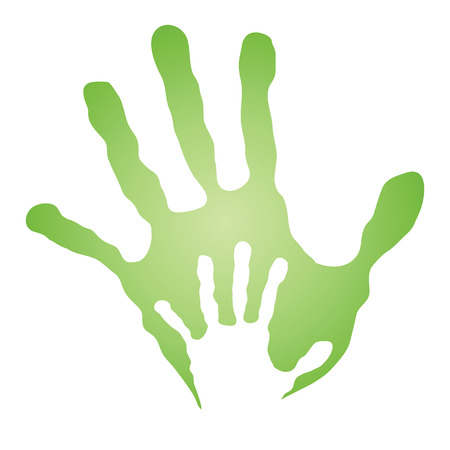hand print: Conceptual mother and child hand print isolated on white background