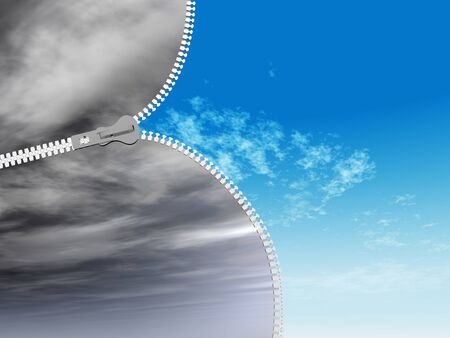 Concept or conceptual 3D abstract zipper from dramatic dark cloudy sky to a sunny summer blue sky with clouds background Reklamní fotografie