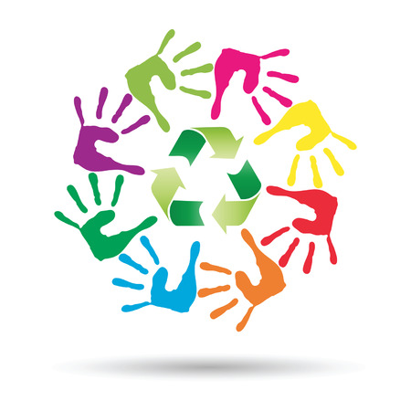 Vector conceptual circle or spiral made of painted human hands with green recycle symbol Illustration