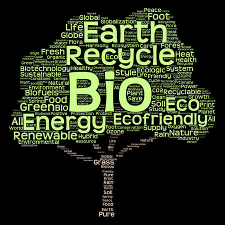 Conceptual green, ecology, recycle or energy tree word cloud background Stock Photo