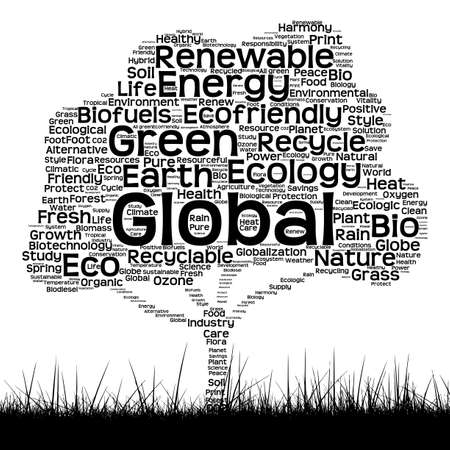 cloud shape: Concept or conceptual black ecology text word cloud as tree and grass isolated on white background