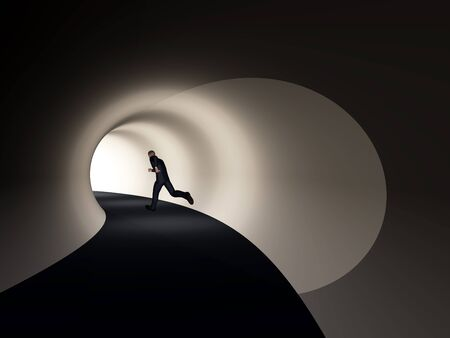 Conceptual 3D business man, dark road tunnel with bright light at the end background Stock Photo