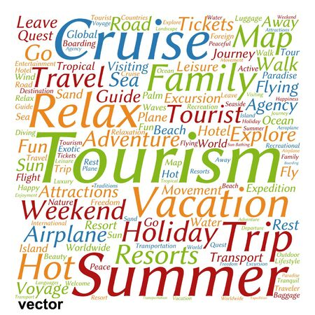 excursion: Vector conceptual travel or tourism word cloud isolated on background