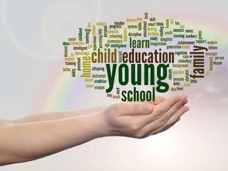 school strategy: Conceptual education word cloud in hands over rainbow sky background