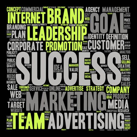 Conceptual business leadership or media word cloud isolated on black background Stock Photo