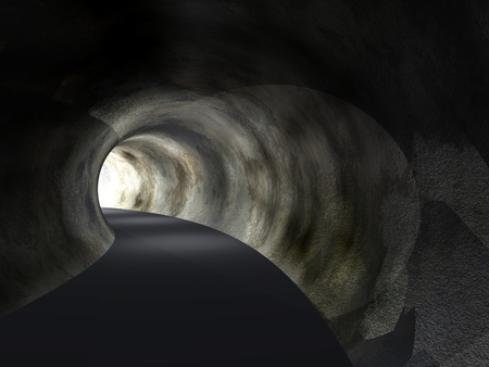tunnel light: Conceptual dark abstract road tunnel with bright light at the end background Stock Photo