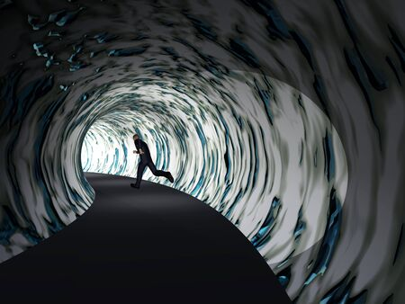 Conceptual 3D business man, dark road tunnel with bright light at the end background 写真素材