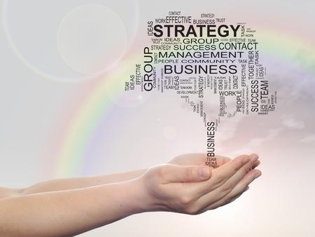 sky metaphor: Concept conceptual text word cloud on man hand,tagcloud on rainbow sky background, metaphor to business Stock Photo