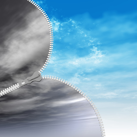 good heavens: Concept or conceptual 3D abstract zipper from dramatic dark cloudy sky to a sunny summer blue sky with clouds background Stock Photo