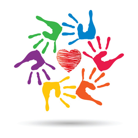 Vector conceptual circle or spiral made of painted human hands with red heart love or health symbol Illustration