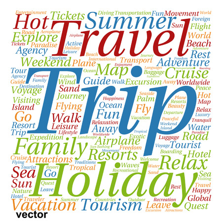 Vector conceptual travel or tourism word cloud isolated on background