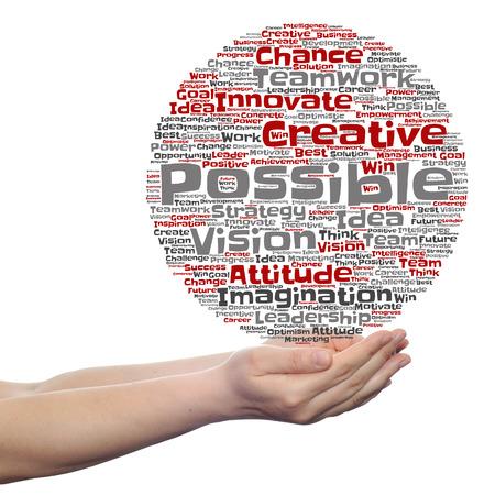 Konzept oder konzeptionelle Zusammenfassung kreative Business-Wort-Wolke in der Hand getrennt auf weißem Hintergrund Standard-Bild - 63111381