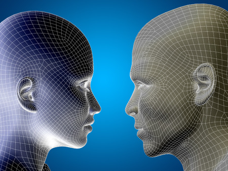 Concept or conceptual 3D wireframe or mesh human male and female head on blue background Stock Photo