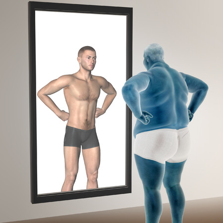 Human man fat and slim concept in mirror for health or sport Stock Photo