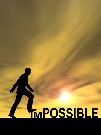 Concept conceptual 3D human man or businessman as black silhouette stepping over impossible or possible text at sunset Stock Photo