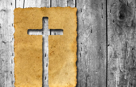 vintage background paper: Old vintage Christian paper cross over wood wall background Stock Photo