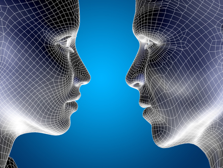 cyber woman: Concept or conceptual 3D wireframe or mesh human male and female head on blue background Stock Photo
