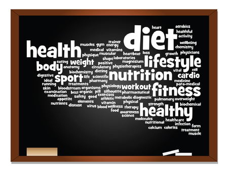 physique: Vector concept or conceptual abstract word cloud on blackboard and chalk background
