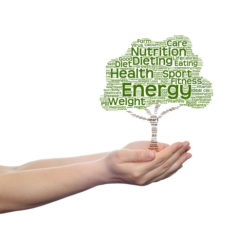 Conceptual health tree word cloud hand isolated on white background