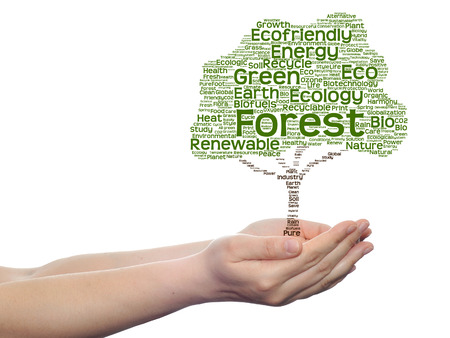 Conceptual ecology tree word cloud hand background