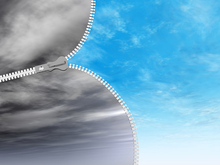 Concept or conceptual 3D abstract zipper from dramatic dark cloudy sky to a sunny summer blue sky with clouds background Stock Photo