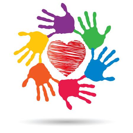 Vecteur cercle ou en spirale faite de mains humaines peintes avec amour de coeur rouge ou un symbole de santé conceptuel Vecteurs