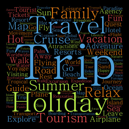 Conceptual travel or tourism word cloud isolated on black background Stock Photo