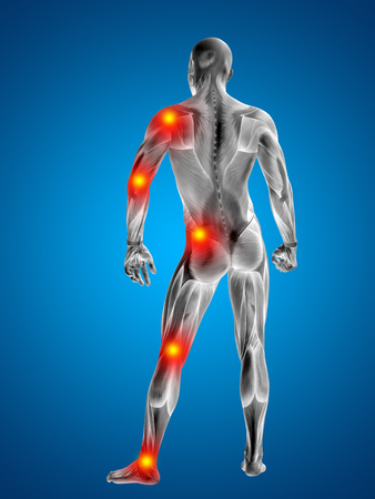 cramp: Conceptual 3D human man anatomy joint pain body on blue background Stock Photo