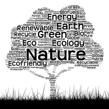 Vector concept or conceptual black ecology text word cloud as tree and grass isolated on white background Illustration